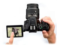 Articulating touch LCD screen on DSLR for shooting video