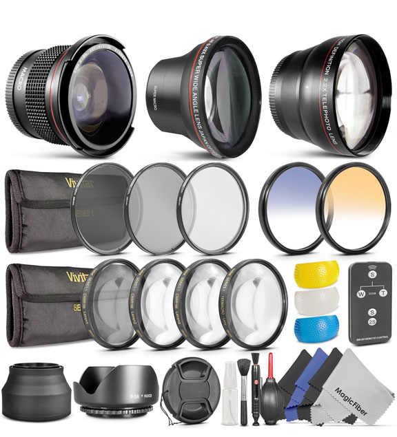 Complete 58mm Lens and Filter Kit For Canon Rebel