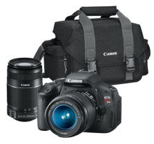 This Canon t3i bag has enough room for the t3i body, the kit lens, the 55-250 zzom and other accessories