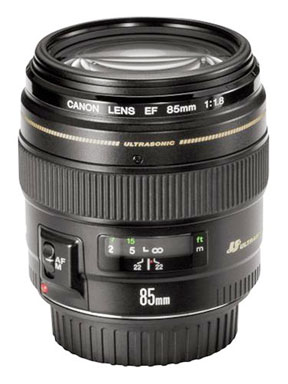 The Canon 85mm f1.8 is very light and easy to carry for shooting portraits with Canon full-sized sensor cameras.