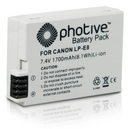This Canon EOS t3i battery alternative costs about 1/3 of a Canon LP-E8
