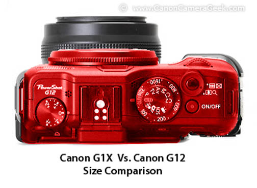 Canon g12 (in red) superimposed above a Canon G1X
