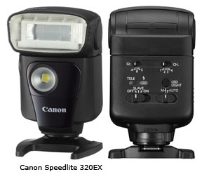 Canon Speedlite 320EX-front and back view