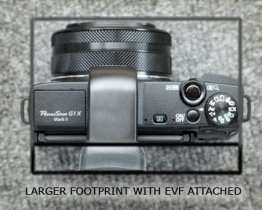 Larger footprint with EVF attached