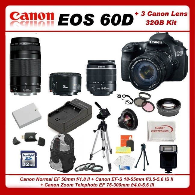 This Canon EOS 60D Kit has a lot of camera, lens and accessories for the money