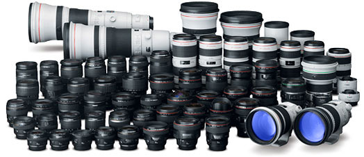 collection of Canon lenses