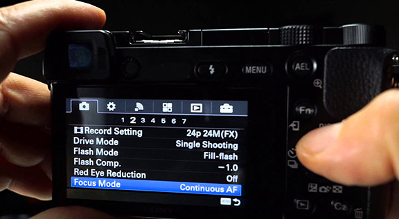 Continuous focus camera setting LCD