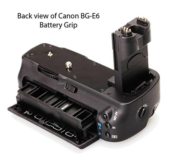 Back of Canon BG-E6 Battery Grip