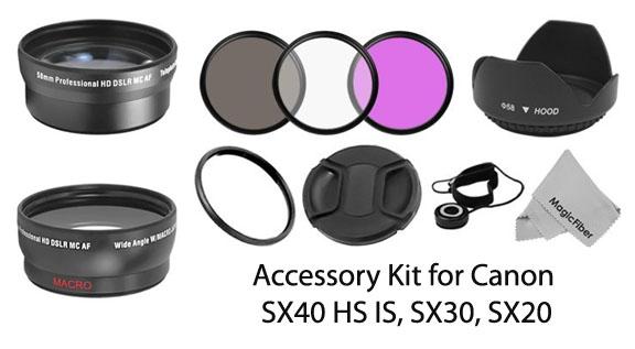 Accessory kit for Canon Powershot SX40 camera
