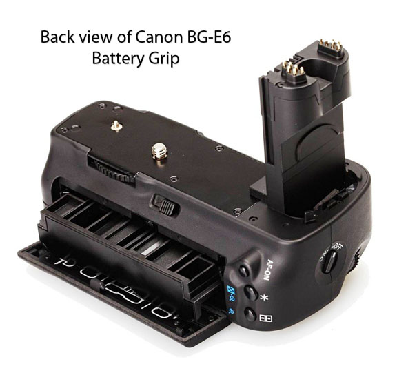 Back of Canon BG-E6 Battery Grip