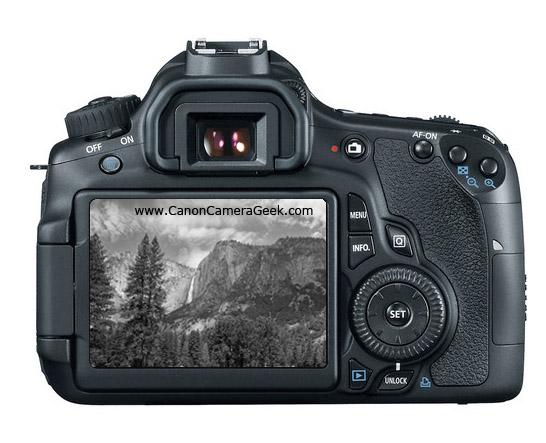 Canon EOS 60D LCD screen