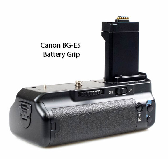 Back View of Canon BG-E5 Battery Grip