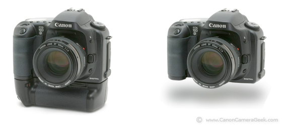 Canon 10D With and Without a BG-ED3 Battery Grip Attached
