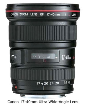 Canon 17-40 ultra wide-angle lens
