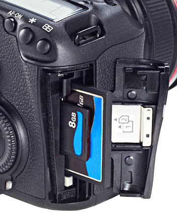 The Canon 5D Mark III has Dual Memory Card Slots