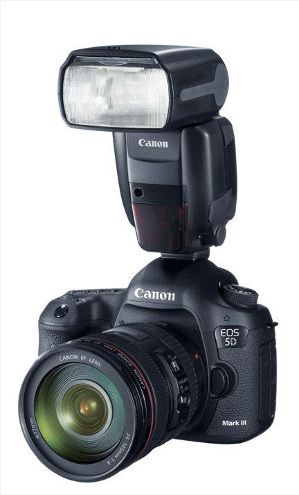 Canon EOS 5D With Speedlite Attached