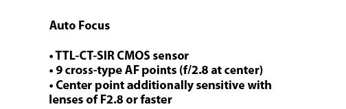 EOS 60D Focusing Specs