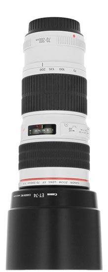 Canon 70-200mm lens with hood attached