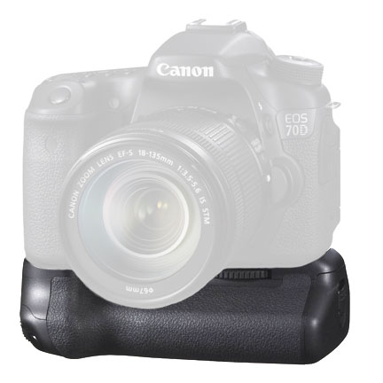 Canon 70D with BG-E14 battery grip attached