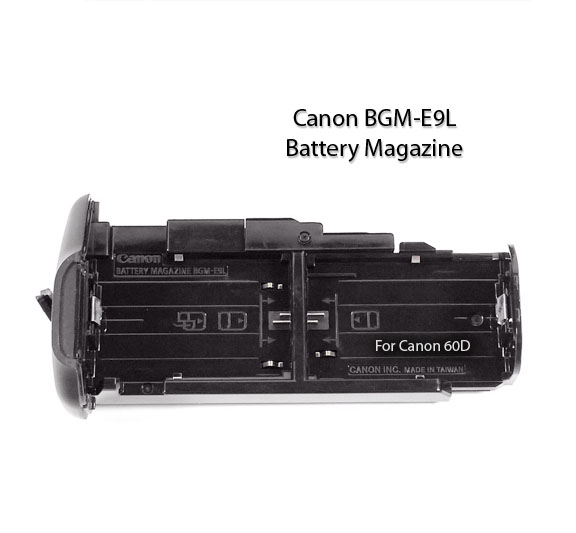 Battery magazine for insertion in the BG-E9 Battery Grip