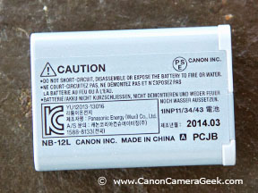 Canon NB-12L battery back-close-up