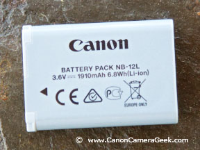 Close-up of Front of Canon NB-12L Battery