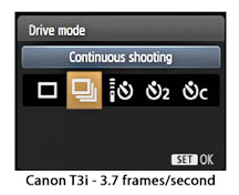 Canon Rebel T3i-constinuous shooting mode LCD screen