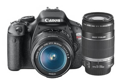 This simple Canon Rebel t3i bundle comes with a Canon t3i body, an 18-55mm lens, and the 55-250mm lens