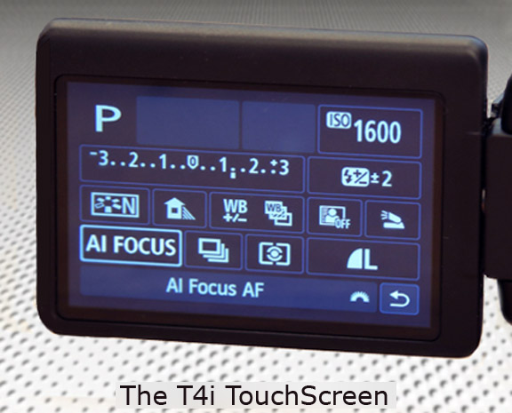 Canon T4i LCD Touchscreen Menu