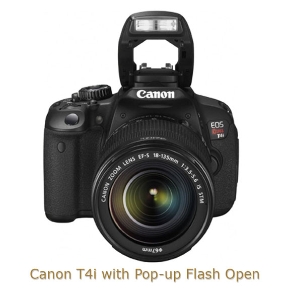 Canon T4i Camera with Pop-up Flash Open