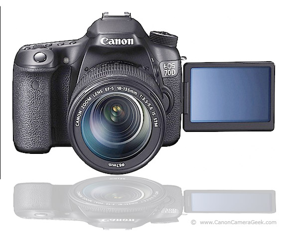 Canon EOS 70D front view with LCD screen swiveled