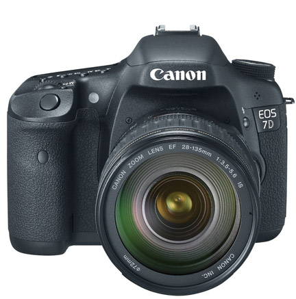 Front view of Canon EOS 7D with 28-135mm lens
