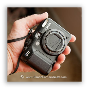 The Canon g11 fits into the palm of my hand.