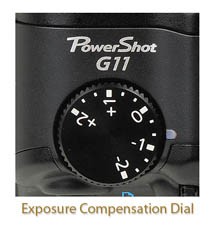 Canon g11-exposure compensation dial