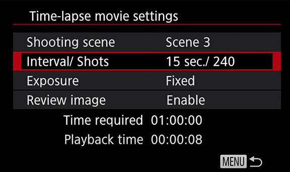 Canon M6 Time Lapse Menu Settings