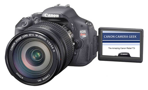 The Canon EOS Rebel t3i has a cool rotating LCD Screen