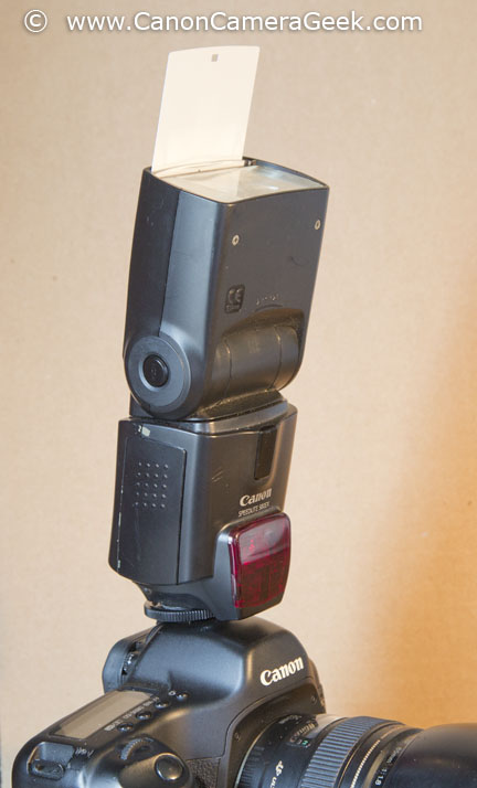 Canon Speedlite Bounce Panel is built in to the flash head and slides out when needed.