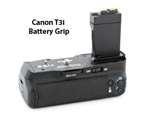 The t3i takes the Canon BG-E8 battery grip