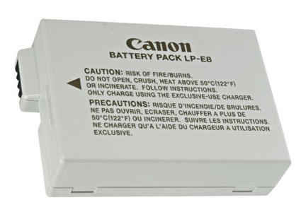 Photo of the lithuim ion LP-E8 battery for the Canon t3i camera