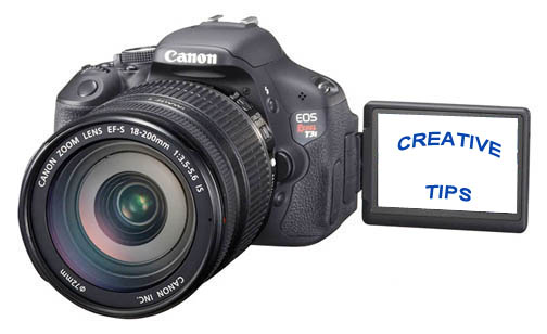 Canon t3i with creative tips on LCD screen