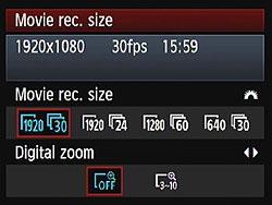 Canon EOS Rebel t3i video menu screen