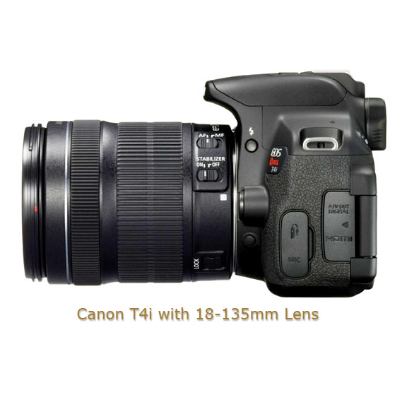 Canon T4i with 18-135mm Lens - Sideview