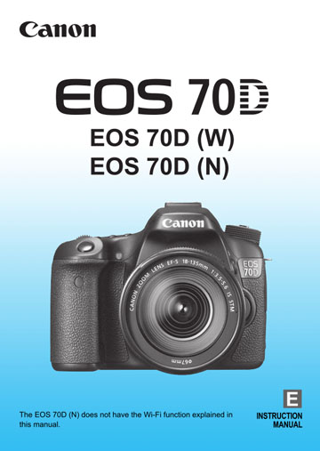 Cover of the Canon 70D manual pdf guide