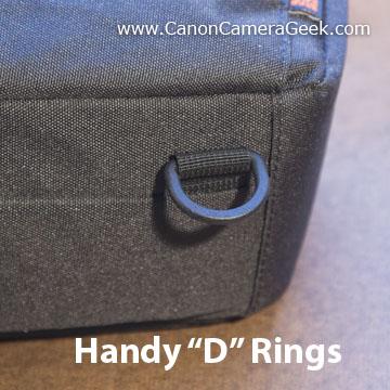 D-rings ontop of top-loading camera bag