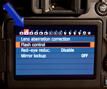 EOS 70D Flash Control Menu