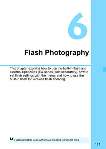 Flash photography section of Canon 70D manual