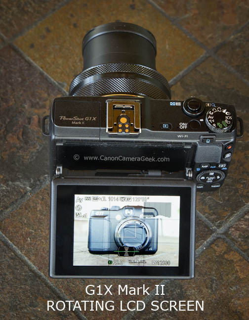The Powershot G1x Mark II has a tilting LCD screen