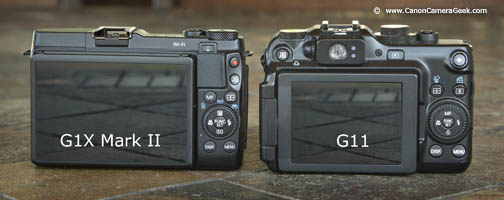 LCD comparison of G1X Mark II and G11