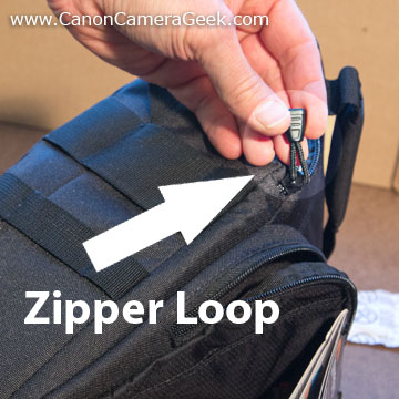 Lowepro Toploader loops on zipper