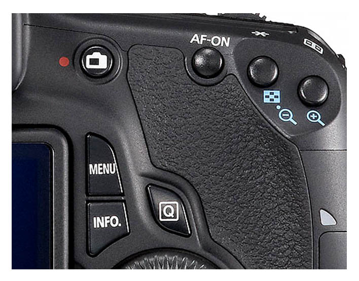 Menu and Info Buttons on Back of Canon 60D Body
